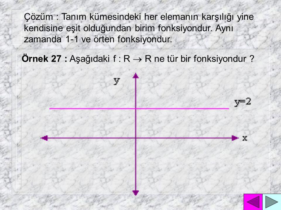Çözüm : Görüntü kümesinin tüm değerlerinin tanım kümesinde karşılığı olduğu için örten fonksiyondur.