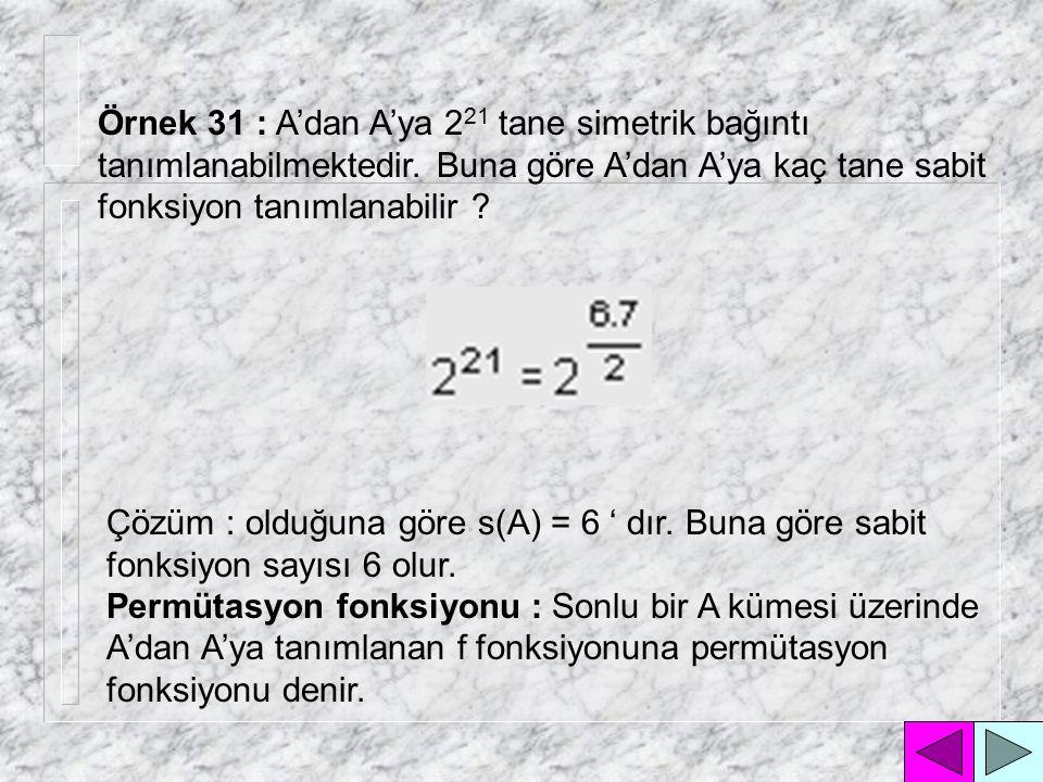 Örnek 29 : A'dan B'ye 4 tanesi sabit olmak üzere 64 tane fonksiyon tanımlanabilmektedir.