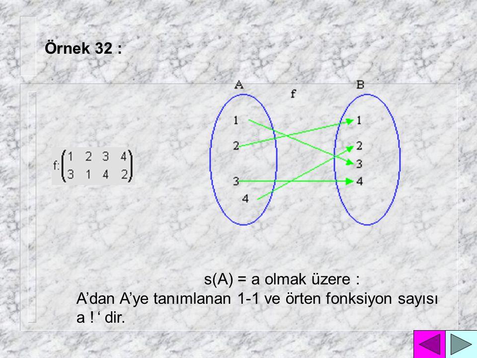 Örnek 31 : A'dan A'ya 2 21 tane simetrik bağıntı tanımlanabilmektedir.
