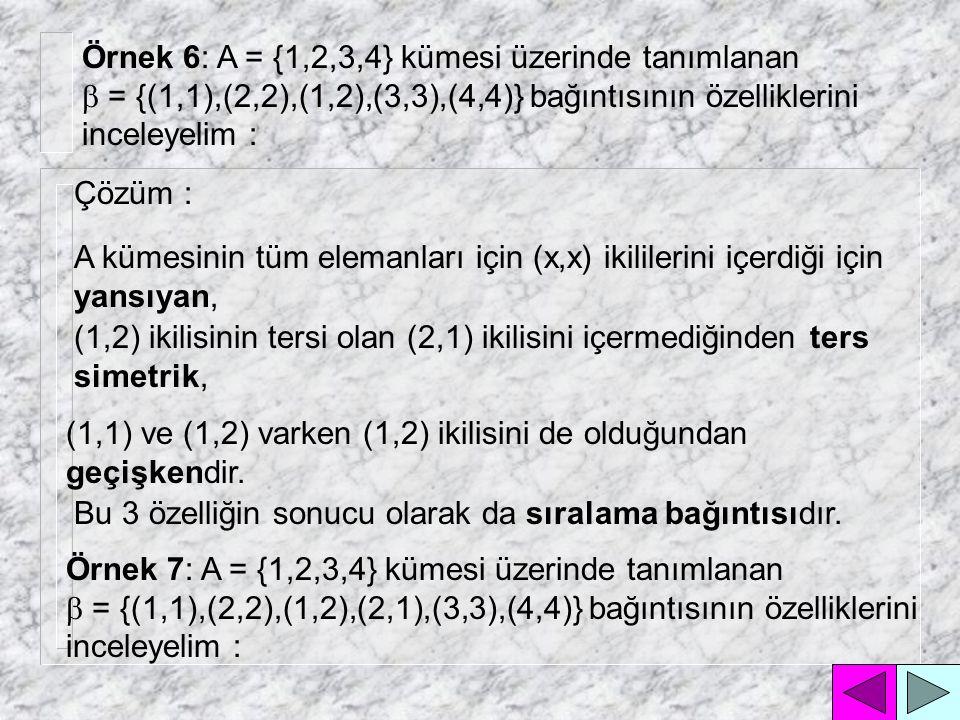 2.Simetri özelliği : Bir bağıntı, (x,y) ikilisini içerirken aynı anda (y,x) ikilisini de içeriyorsa simetriktir.