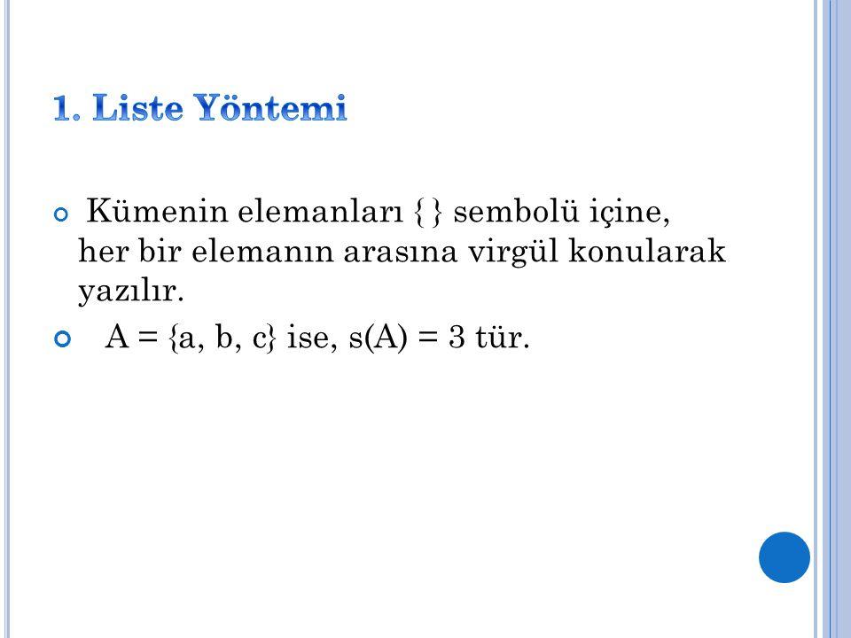 Kümenin elemanları { } sembolü içine, her bir elemanın arasına virgül konularak yazılır. A = {a, b, c} ise, s(A) = 3 tür.