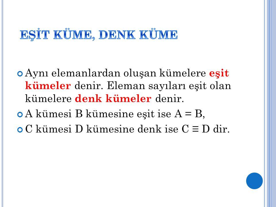 Aynı elemanlardan oluşan kümelere eşit kümeler denir. Eleman sayıları eşit olan kümelere denk kümeler denir. A kümesi B kümesine eşit ise A = B, C küm