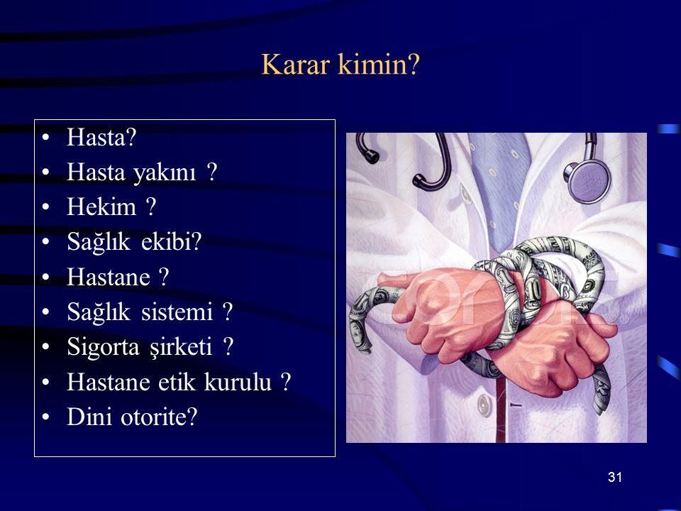 Klinik etik değerlendirme Tıbbi Belirleyiciler Mevcut tıbbi durum, Mevcut tıbbi durum, Acil bir durum mu, kronik ve geri dönüşümsüz bir durum mu? Acil