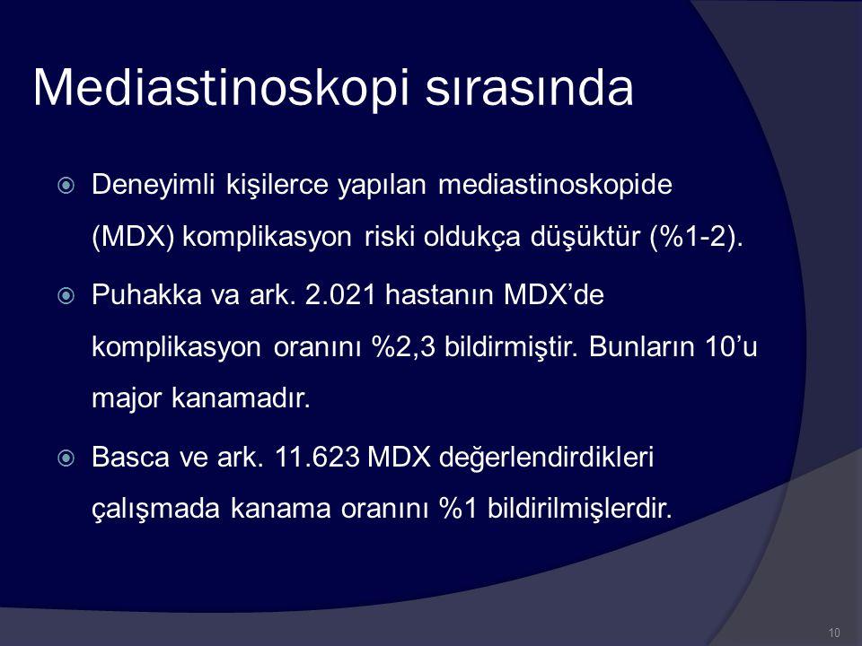 Mediastinoskopi sırasında  Deneyimli kişilerce yapılan mediastinoskopide (MDX) komplikasyon riski oldukça düşüktür (%1-2).  Puhakka va ark. 2.021 ha