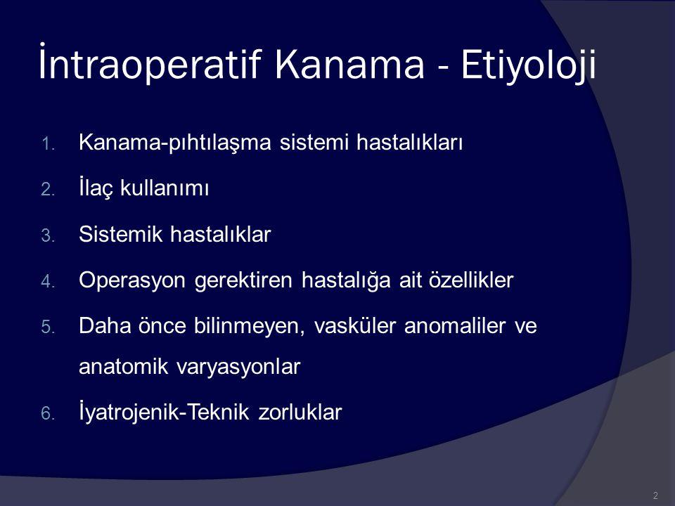 İntraoperatif Kanama - Etiyoloji 1. Kanama-pıhtılaşma sistemi hastalıkları 2. İlaç kullanımı 3. Sistemik hastalıklar 4. Operasyon gerektiren hastalığa