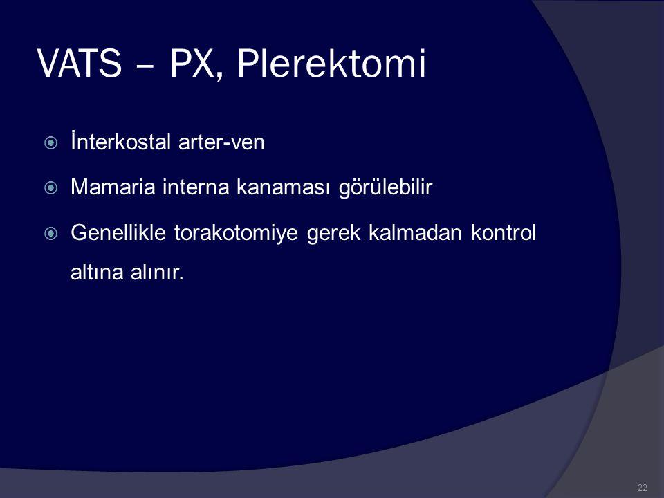 VATS – PX, Plerektomi  İnterkostal arter-ven  Mamaria interna kanaması görülebilir  Genellikle torakotomiye gerek kalmadan kontrol altına alınır. 2