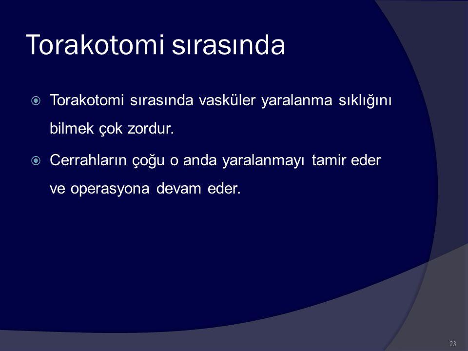 Torakotomi sırasında  Torakotomi sırasında vasküler yaralanma sıklığını bilmek çok zordur.  Cerrahların çoğu o anda yaralanmayı tamir eder ve operas
