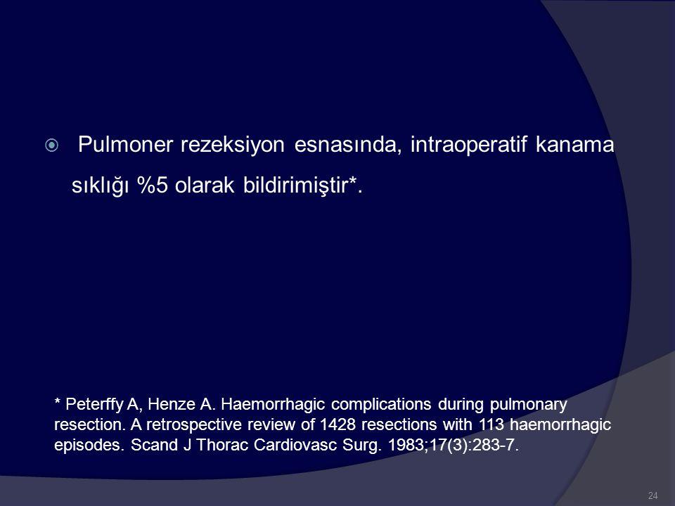  Pulmoner rezeksiyon esnasında, intraoperatif kanama sıklığı %5 olarak bildirimiştir*. * Peterffy A, Henze A. Haemorrhagic complications during pulmo