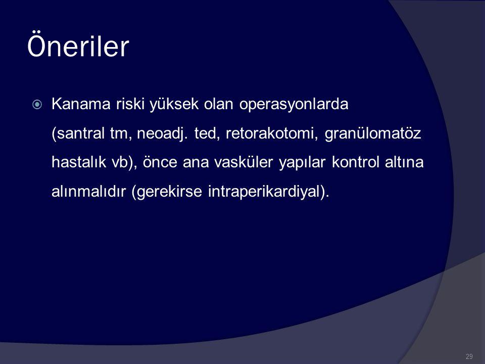 Öneriler  Kanama riski yüksek olan operasyonlarda (santral tm, neoadj. ted, retorakotomi, granülomatöz hastalık vb), önce ana vasküler yapılar kontro