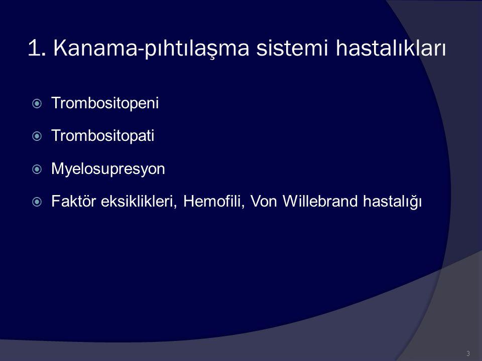 1. Kanama-pıhtılaşma sistemi hastalıkları  Trombositopeni  Trombositopati  Myelosupresyon  Faktör eksiklikleri, Hemofili, Von Willebrand hastalığı