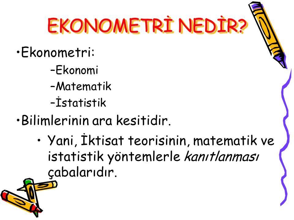 Ekonometri: –E–Ekonomi –M–Matematik –İ–İstatistik Bilimlerinin ara kesitidir.