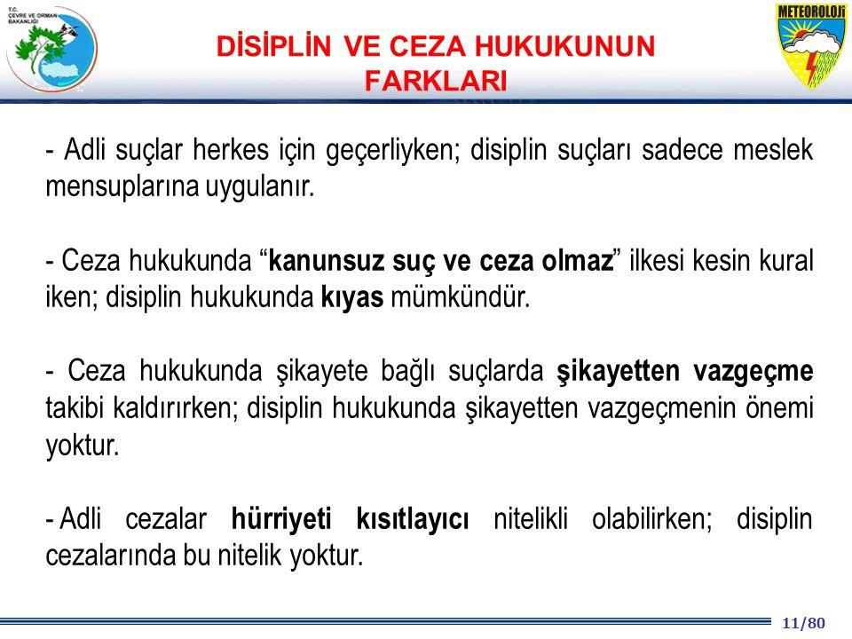 11/80 2001 2003 2009- 2012 - Adli suçlar herkes için geçerliyken; disiplin suçları sadece meslek mensuplarına uygulanır.