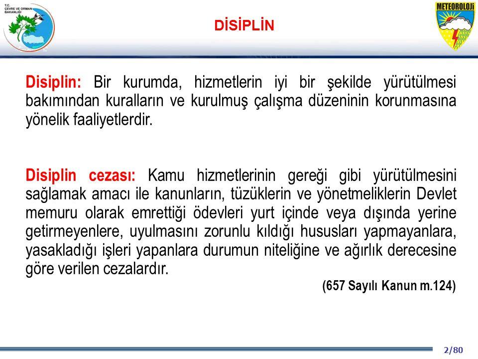 2/80 2001 2003 2009- 2012 Disiplin: Bir kurumda, hizmetlerin iyi bir şekilde yürütülmesi bakımından kuralların ve kurulmuş çalışma düzeninin korunmasına yönelik faaliyetlerdir.