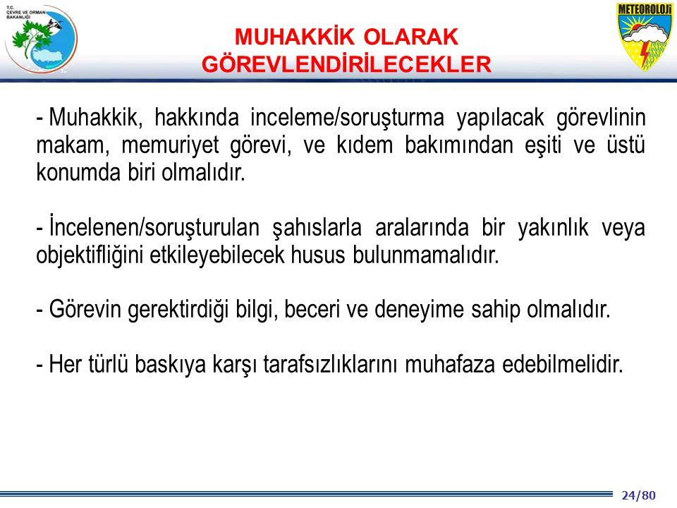 24/80 2001 2003 2009- 2012 - Muhakkik, hakkında inceleme/soruşturma yapılacak görevlinin makam, memuriyet görevi, ve kıdem bakımından eşiti ve üstü konumda biri olmalıdır.