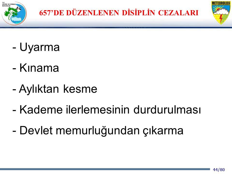 44/80 2001 2003 2009- 2012 - Uyarma - Kınama - Aylıktan kesme - Kademe ilerlemesinin durdurulması - Devlet memurluğundan çıkarma 657'DE DÜZENLENEN DİSİPLİN CEZALARI