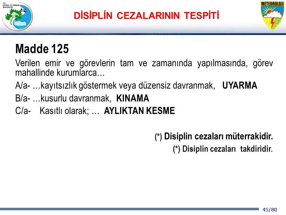 45/80 2001 2003 2009- 2012 Madde 125 Verilen emir ve görevlerin tam ve zamanında yapılmasında, görev mahallinde kurumlarca… A/a- …kayıtsızlık göstermek veya düzensiz davranmak, UYARMA B/a- …kusurlu davranmak, KINAMA C/a- Kasıtlı olarak; … AYLIKTAN KESME (*) Disiplin cezaları müterrakidir.