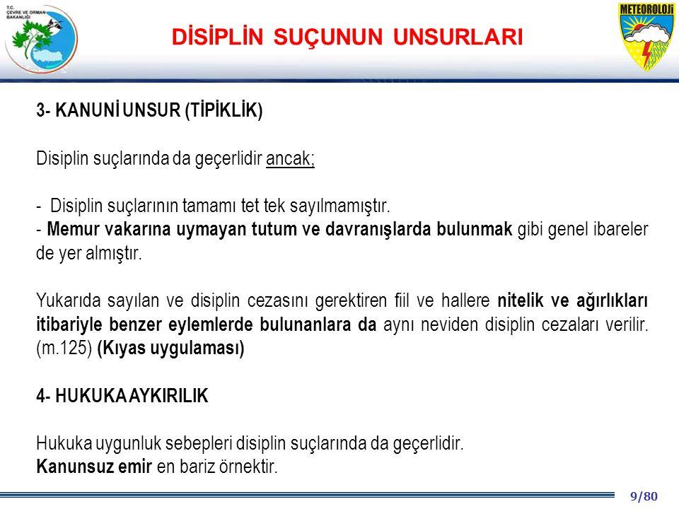 9/80 2001 2003 2009- 2012 3- KANUNİ UNSUR (TİPİKLİK) Disiplin suçlarında da geçerlidir ancak; - Disiplin suçlarının tamamı tet tek sayılmamıştır. - Me