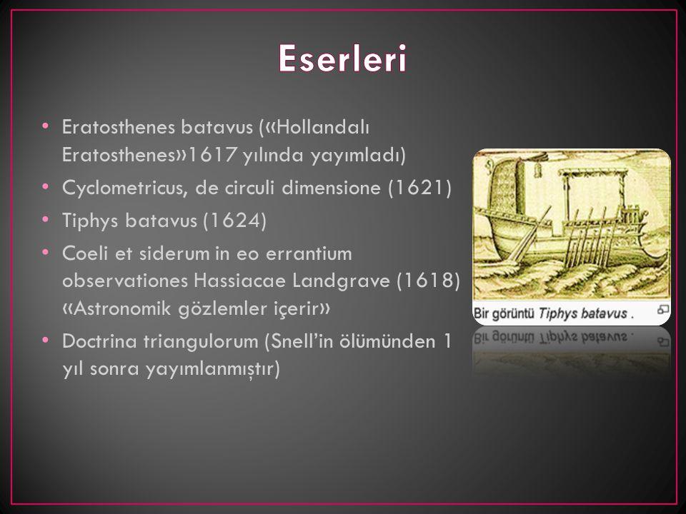 Eratosthenes batavus («Hollandalı Eratosthenes»1617 yılında yayımladı) Cyclometricus, de circuli dimensione (1621) Tiphys batavus (1624) Coeli et side