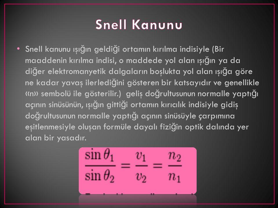 Snell kanunu ışı ğ ın geldi ğ i ortamın kırılma indisiyle (Bir maaddenin kırılma indisi, o maddede yol alan ışı ğ ın ya da di ğ er elektromanyetik dal
