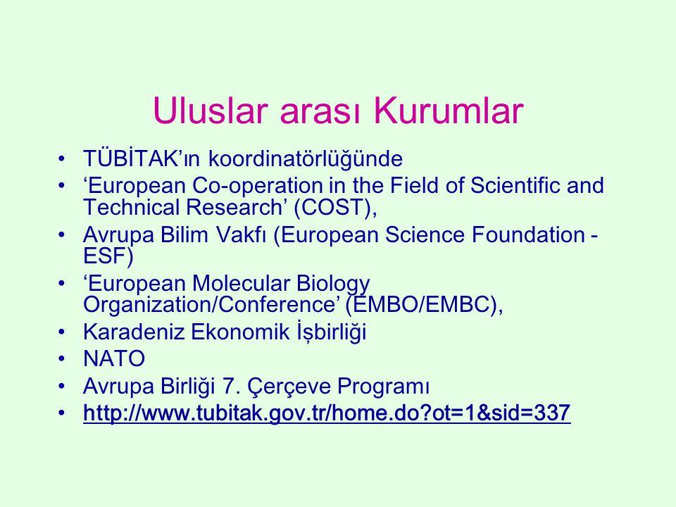 Uluslar arası Kurumlar TÜBİTAK'ın koordinatörlüğünde 'European Co-operation in the Field of Scientific and Technical Research' (COST), Avrupa Bilim Va