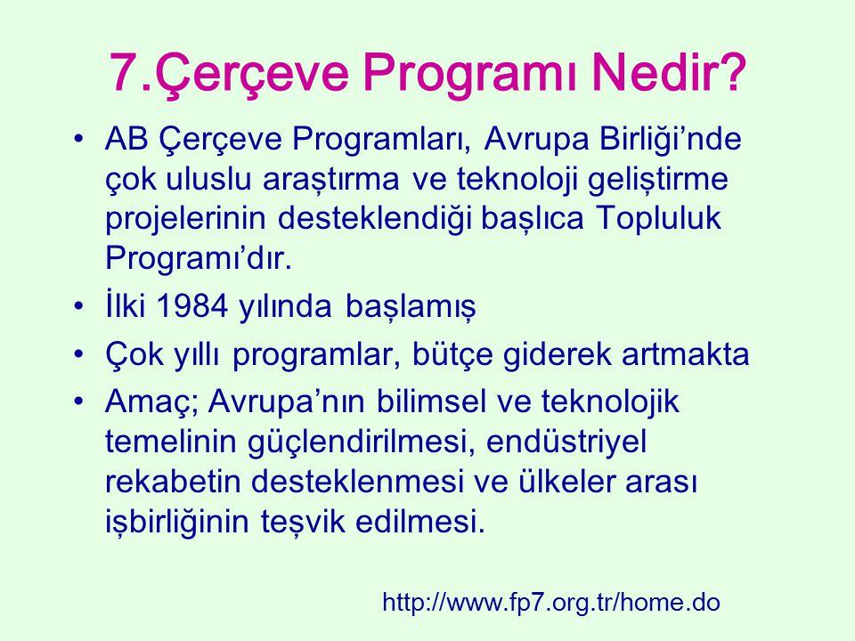 7.Çerçeve Programı Nedir? AB Çerçeve Programları, Avrupa Birliği'nde çok uluslu araştırma ve teknoloji geliştirme projelerinin desteklendiği başlıca T