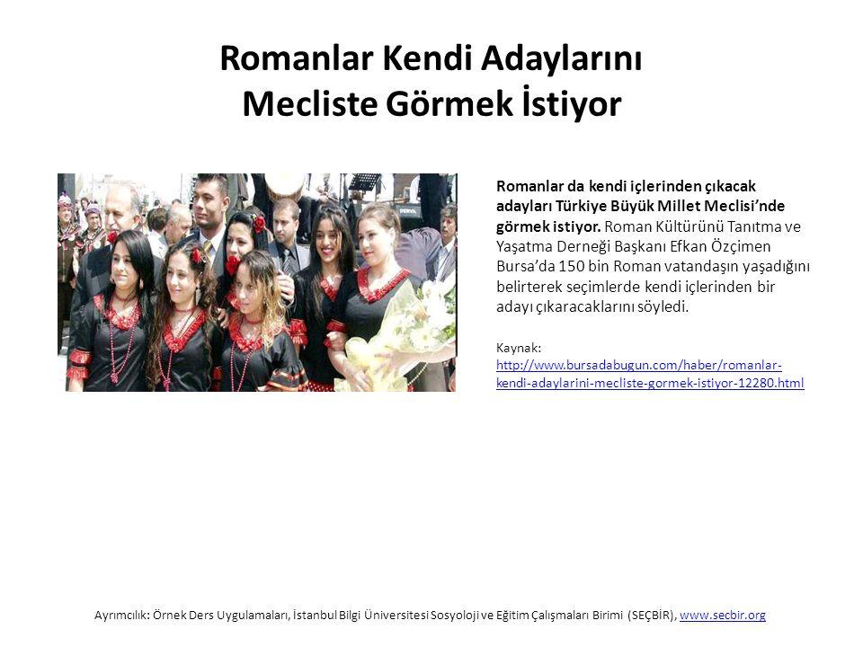 Romanlar da kendi içlerinden çıkacak adayları Türkiye Büyük Millet Meclisi'nde görmek istiyor.