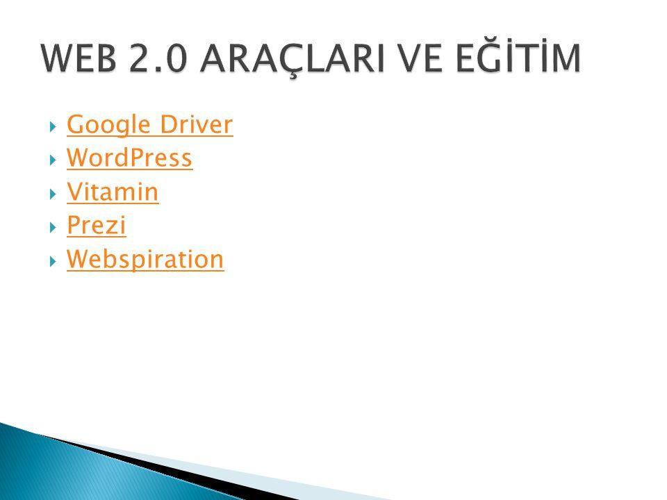  Google Driver Google Driver  WordPress WordPress  Vitamin Vitamin  Prezi Prezi  Webspiration Webspiration