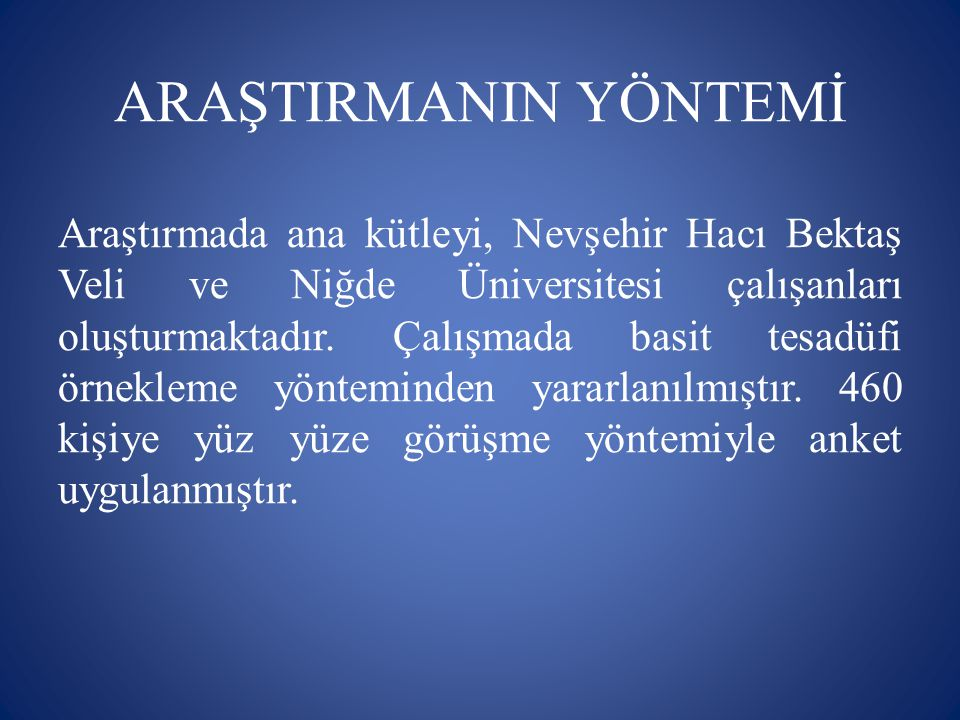 ARAŞTIRMANIN YÖNTEMİ Araştırmada ana kütleyi, Nevşehir Hacı Bektaş Veli ve Niğde Üniversitesi çalışanları oluşturmaktadır. Çalışmada basit tesadüfi ör