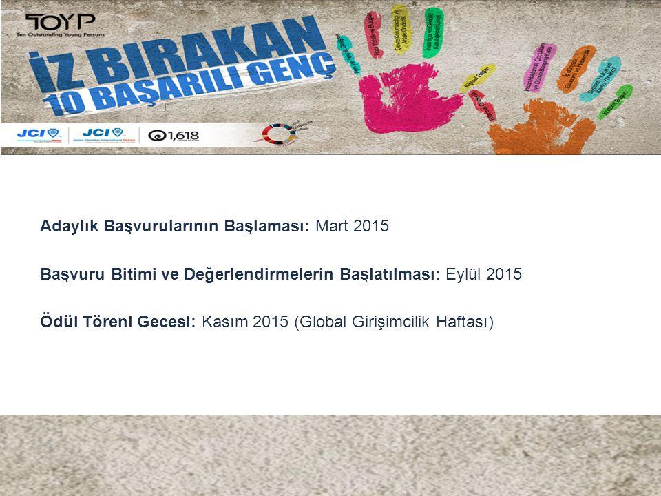 Adaylık Başvurularının Başlaması: Mart 2015 Başvuru Bitimi ve Değerlendirmelerin Başlatılması: Eylül 2015 Ödül Töreni Gecesi: Kasım 2015 (Global Giriş