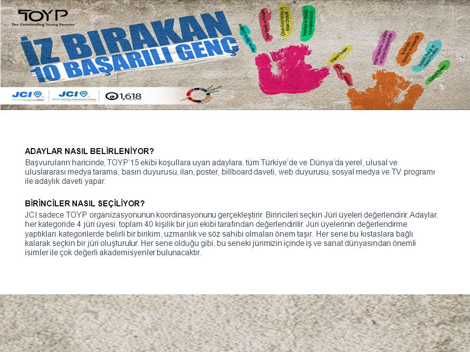 ADAYLAR NASIL BELİRLENİYOR? Başvuruların haricinde, TOYP'15 ekibi koşullara uyan adaylara, tüm Türkiye'de ve Dünya'da yerel, ulusal ve uluslararası me