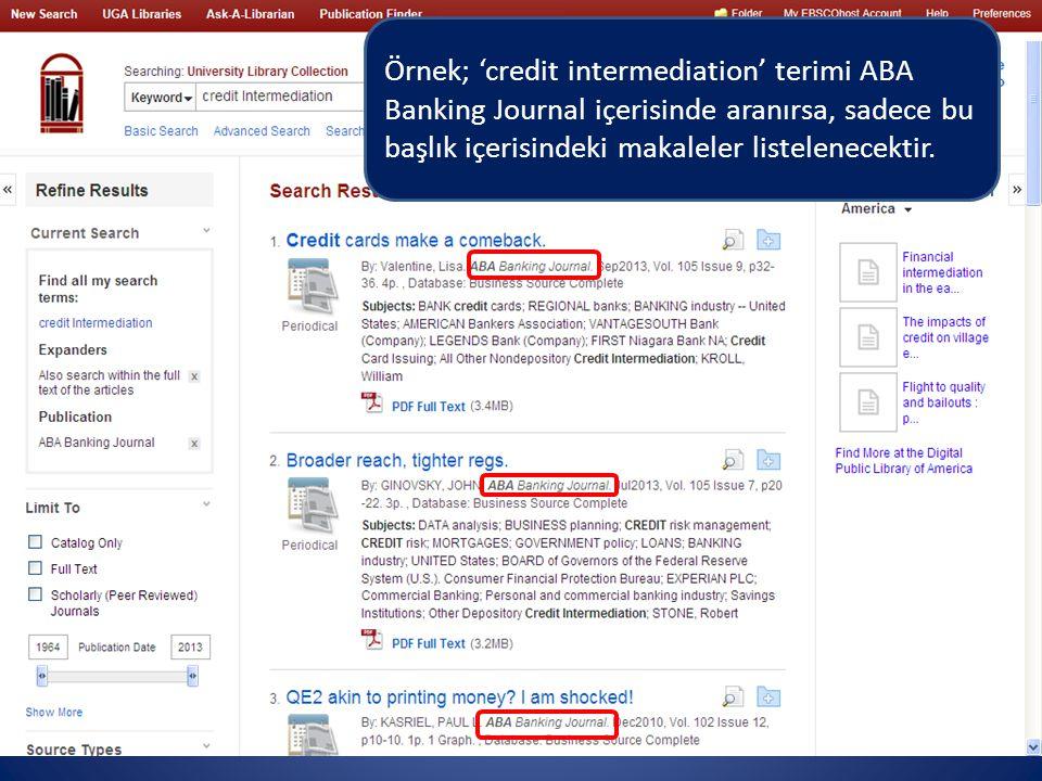 Örnek; 'credit intermediation' terimi ABA Banking Journal içerisinde aranırsa, sadece bu başlık içerisindeki makaleler listelenecektir.