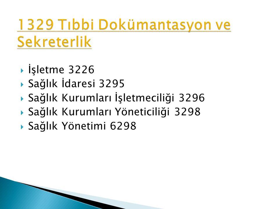  İşletme 3226  Sağlık İdaresi 3295  Sağlık Kurumları İşletmeciliği 3296  Sağlık Kurumları Yöneticiliği 3298  Sağlık Yönetimi 6298