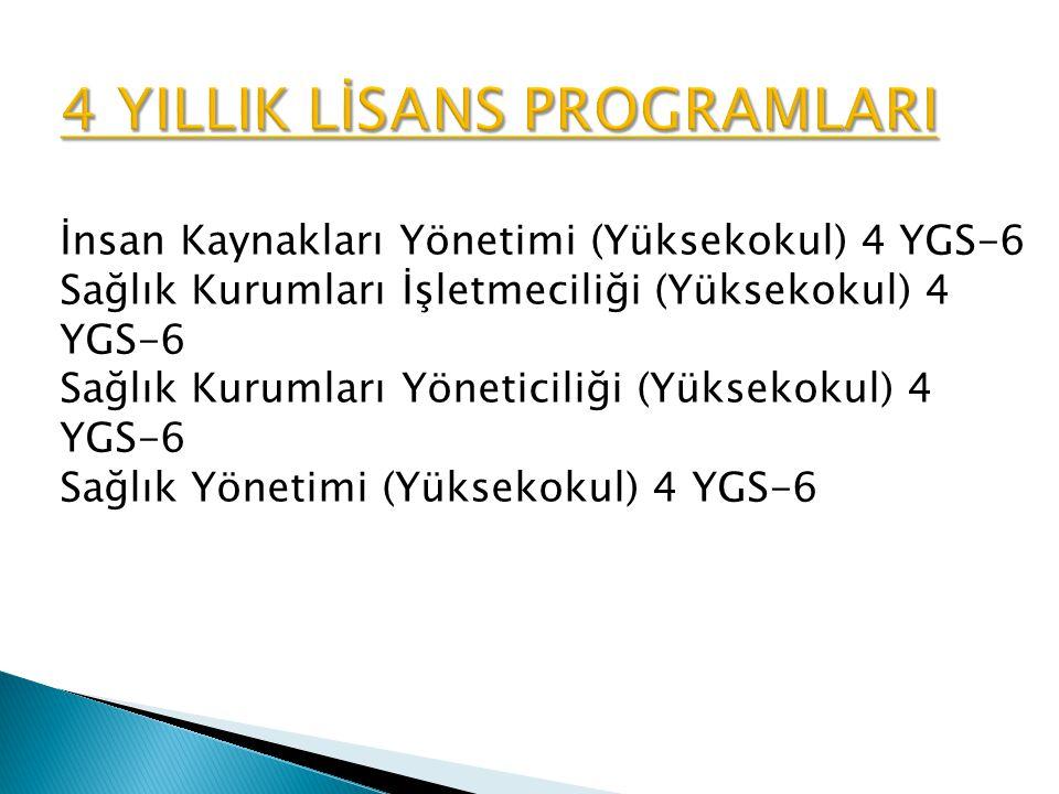 İnsan Kaynakları Yönetimi (Yüksekokul) 4 YGS-6 Sağlık Kurumları İşletmeciliği (Yüksekokul) 4 YGS-6 Sağlık Kurumları Yöneticiliği (Yüksekokul) 4 YGS-6