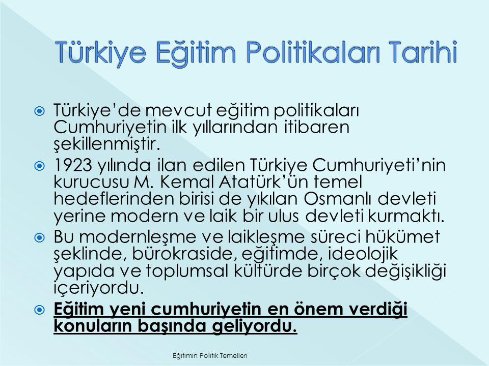  Türkiye'de mevcut eğitim politikaları Cumhuriyetin ilk yıllarından itibaren şekillenmiştir.  1923 yılında ilan edilen Türkiye Cumhuriyeti'nin kuruc