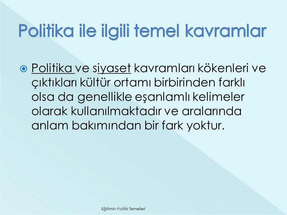  Politika: Kelime kökeni olarak Eski Yunan'da şehir anlamına gelen 'polis' kelimesinden türeyen politika (politics), şehir devleti ile ilgili işler anlamına gelir.