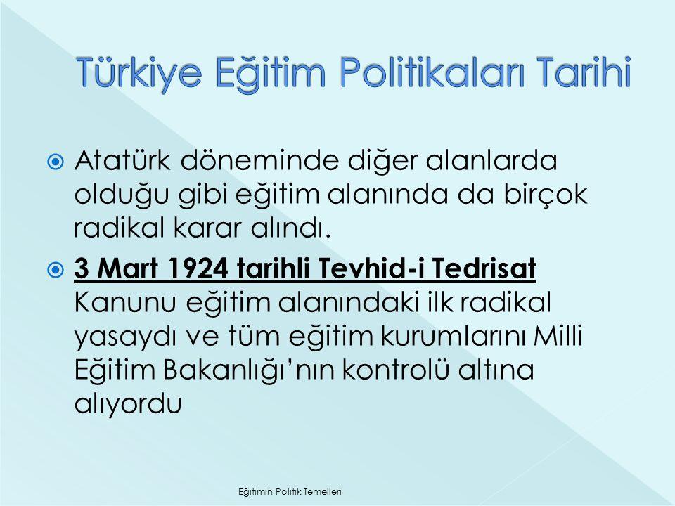  Atatürk döneminde diğer alanlarda olduğu gibi eğitim alanında da birçok radikal karar alındı.  3 Mart 1924 tarihli Tevhid-i Tedrisat Kanunu eğitim