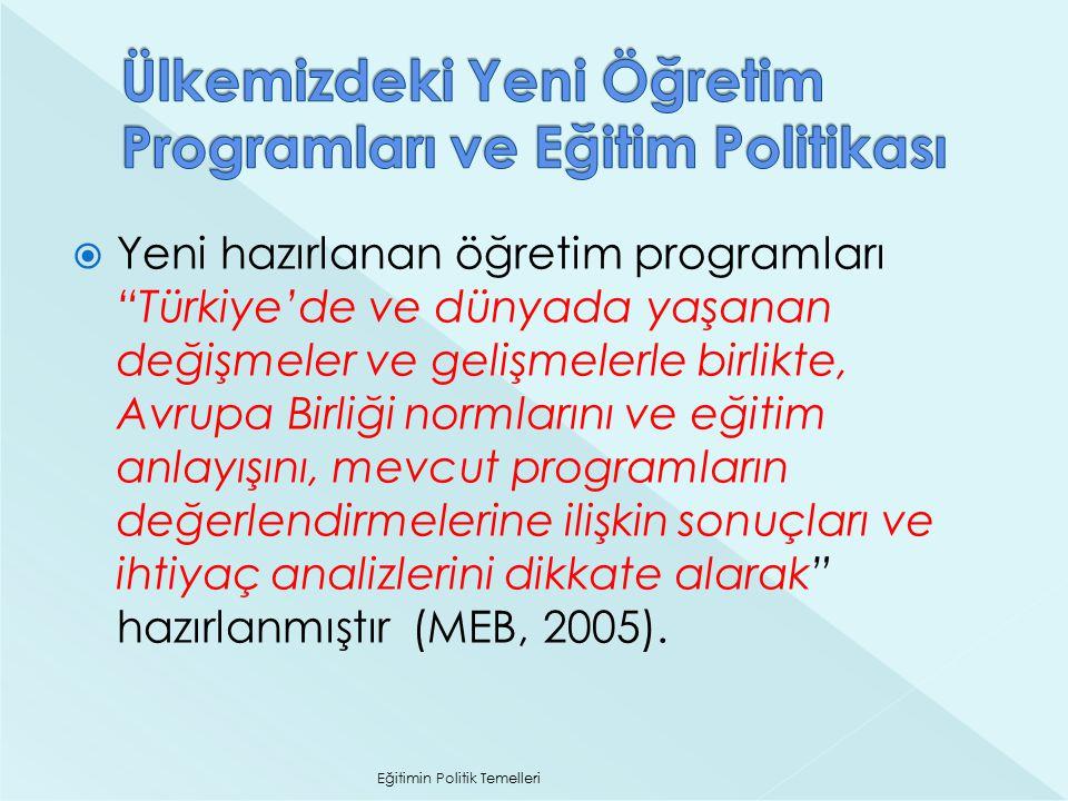 """ Yeni hazırlanan öğretim programları """"Türkiye'de ve dünyada yaşanan değişmeler ve gelişmelerle birlikte, Avrupa Birliği normlarını ve eğitim anlayışı"""