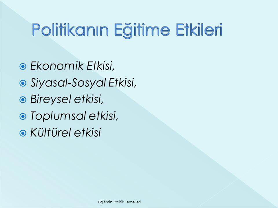  Ekonomik Etkisi,  Siyasal-Sosyal Etkisi,  Bireysel etkisi,  Toplumsal etkisi,  Kültürel etkisi Eğitimin Politik Temelleri