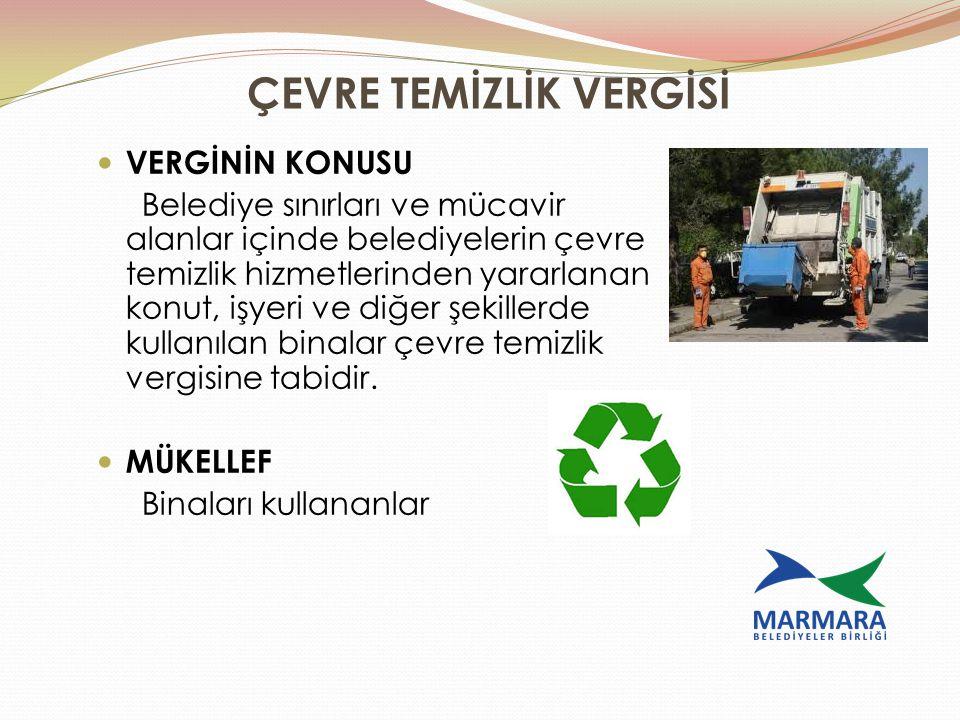 ÇEVRE TEMİZLİK VERGİSİ VERGİNİN KONUSU Belediye sınırları ve mücavir alanlar içinde belediyelerin çevre temizlik hizmetlerinden yararlanan konut, işye