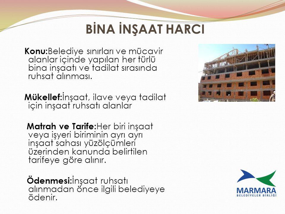 BİNA İNŞAAT HARCI Konu: Belediye sınırları ve mücavir alanlar içinde yapılan her türlü bina inşaatı ve tadilat sırasında ruhsat alınması. Mükellef: İn