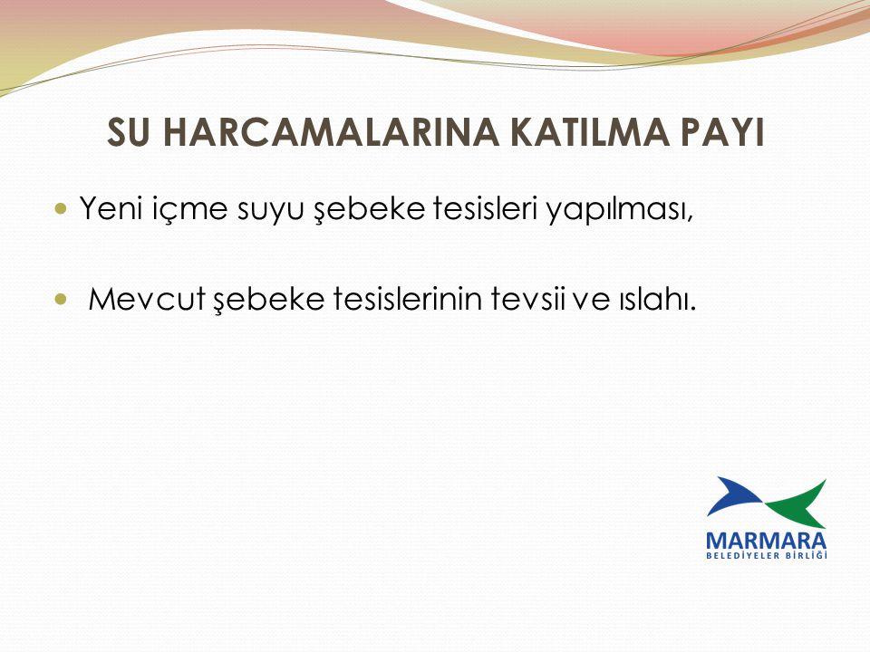 SU HARCAMALARINA KATILMA PAYI Yeni içme suyu şebeke tesisleri yapılması, Mevcut şebeke tesislerinin tevsii ve ıslahı.