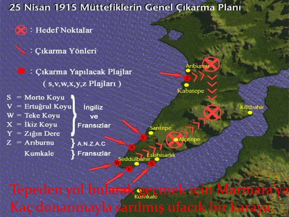 Tepeden yol bularak geçmek için Marmara'ya Kaç donanmayla sarılmış ufacık bir karaya.