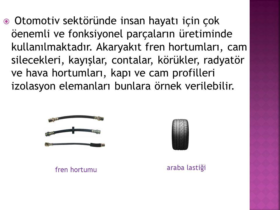  Otomotiv sektöründe insan hayatı için çok öenemli ve fonksiyonel parçaların üretiminde kullanılmaktadır. Akaryakıt fren hortumları, cam silecekleri,