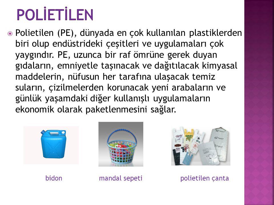  Polietilen (PE), dünyada en çok kullanılan plastiklerden biri olup endüstrideki çeşitleri ve uygulamaları çok yaygındır. PE, uzunca bir raf ömrüne g