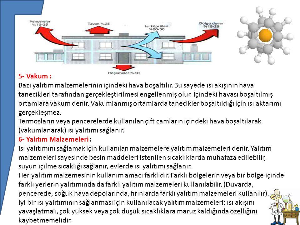 5- Vakum : Bazı yalıtım malzemelerinin içindeki hava boşaltılır.