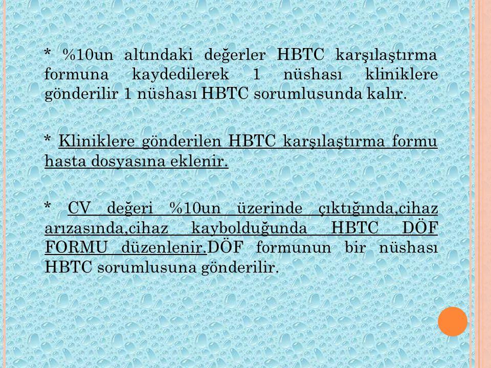 * %10un altındaki değerler HBTC karşılaştırma formuna kaydedilerek 1 nüshası kliniklere gönderilir 1 nüshası HBTC sorumlusunda kalır.