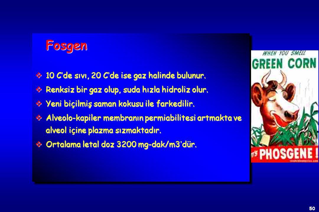 49 AKCİĞER İRRİTANLARI (BOĞUCU GAZLAR) v Fosgen (CG), vKlor (CL) vKlorpikrin (PS) AKCİĞER İRRİTANLARI (BOĞUCU GAZLAR) v Fosgen (CG), vKlor (CL) vKlorp