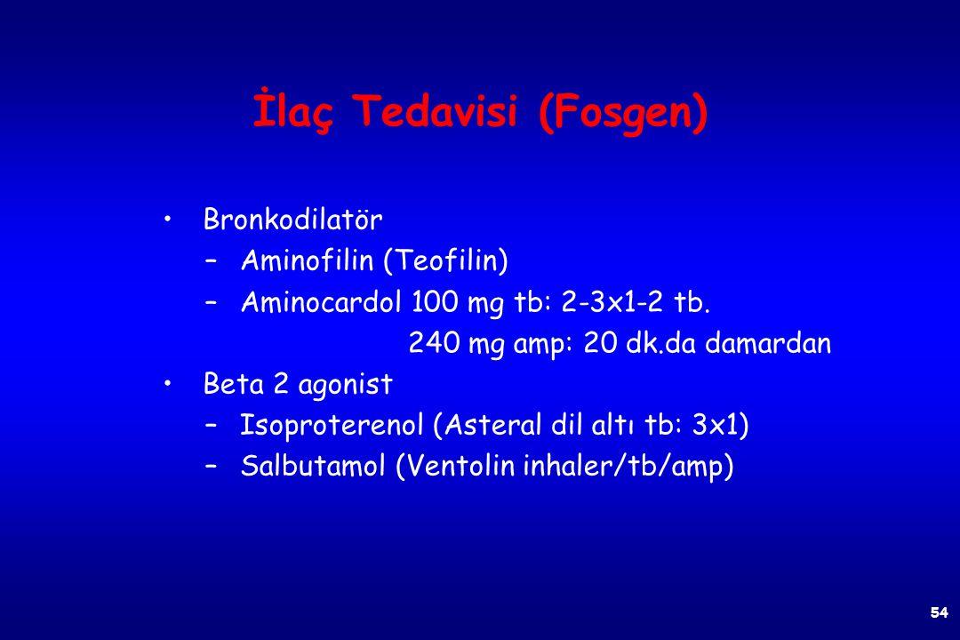 53 Fosgen (tedavi) Dekontaminasyon ve semptomatik tedavi uygulanır. Bol su ve sabunla dekontaminasyon sağlanır, etkilenen bölge sodyum bikarbonatla ıs