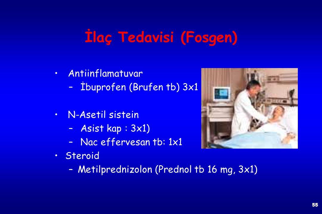 İlaç Tedavisi (Fosgen) Bronkodilatör – Aminofilin (Teofilin) – Aminocardol 100 mg tb: 2-3x1-2 tb. 240 mg amp: 20 dk.da damardan Beta 2 agonist – Isopr
