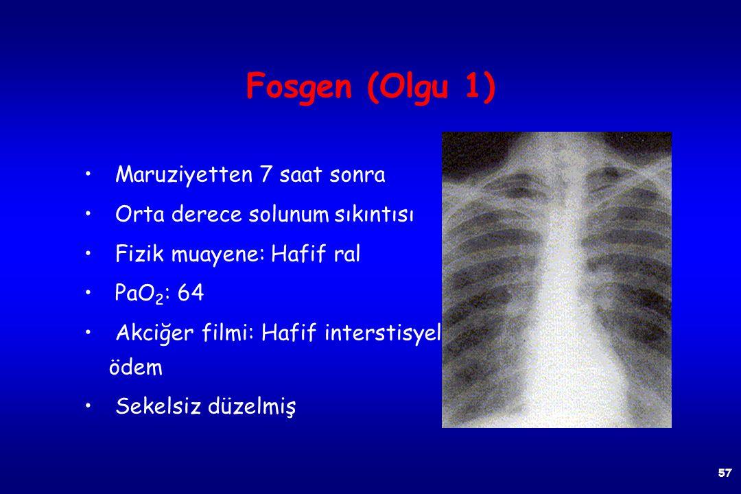 Fosgen (Olgu 1) 40 yaş, erkek Maruziyetten 2 saat sonra Hafif solunum sıkıntısı Fizik muayene normal PaO 2 : 88 Akciğer filmi: Normal 56